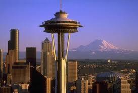 space needle with Mount Rainier