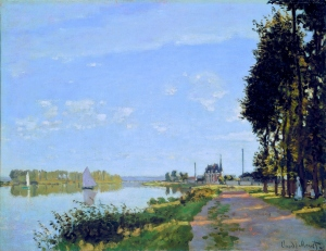 After he had returned from the municipal exhibition in Rouen, and until the end of 1872, the most important part of Monet's artistic output took place in Argenteuil. Most of his work was done on the right bank of the Seine, the Argenteuil side, painted facing the setting sun beyond the trees of the promenade. The road and rail bridges, the Seine, the sky of Ile-de-France, and the promenade's trees would become the key subjects in Monet's work in Argenteuil, forming the most distinctive motifs of this highpoint of Impressionist painting. Here, the painter focuses his attention on the physical features, especially the promenade and the river, but typically at the same time he suggests a human presence through small details.
